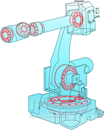 Industrial Robot with Cycloidal and Harmonic Gearboxes